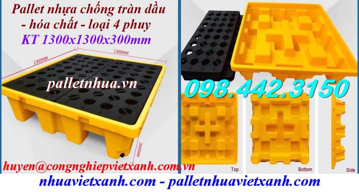 Pallet chống tràn dầu hóa chất 4 phuy 1300x1300x300mm